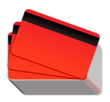 Neon Red Blank Plastic Cards with Magnetic Stripe