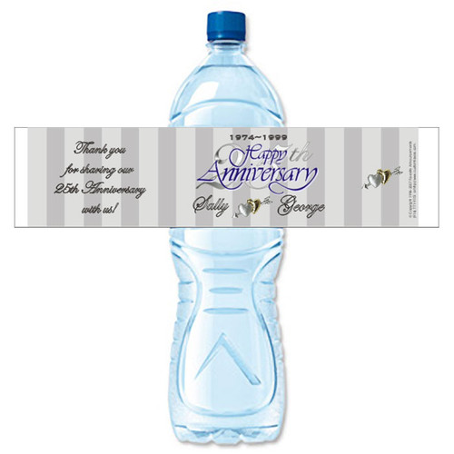 [Y09] Silver Anniversary weatherproof water bottle label