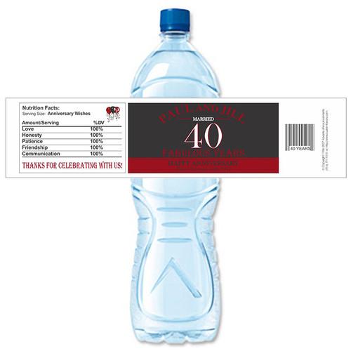 [Y689] Fabulous Anniversary weatherproof water bottle label