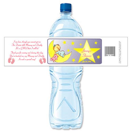 [Y22] Baby Shower Girl on Moon weatherproof water bottle label