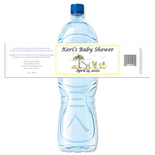 [Y26] Baby Shower Animals weatherproof water bottle label