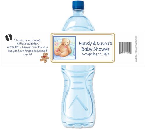 [Y27] Baby Shower Bear weatherproof water bottle label