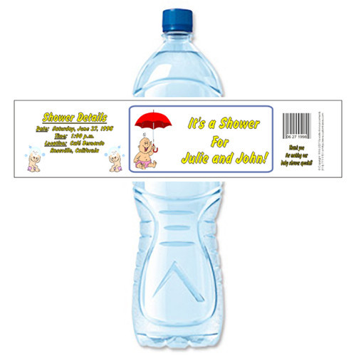 [Y30] Baby with Umbrella 1 weatherproof water bottle label