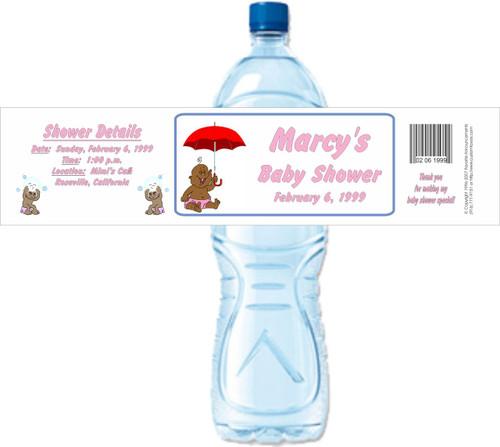 [Y31] Baby with Umbrella  2 weatherproof water bottle label