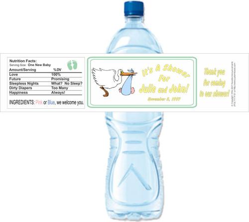 [Y32] Baby Shower Stork weatherproof water bottle label