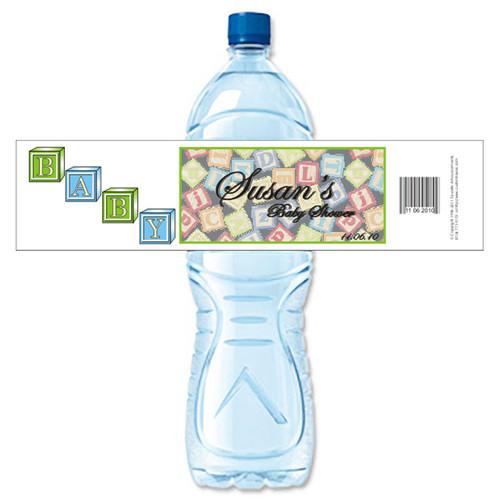 [Y337] Blocks Background weatherproof water bottle label