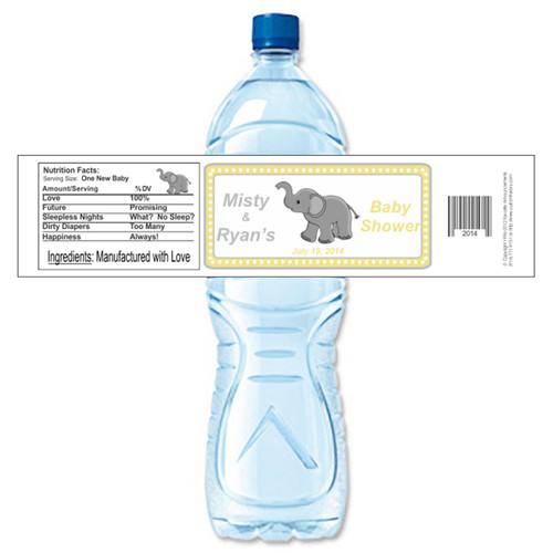 [Y681] Baby Elephant weatherproof water bottle label