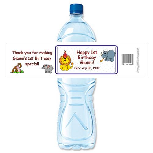 [Y86] Animal Birthday weatherproof water bottle label