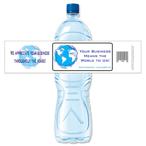 [Y362] World Business weatherproof water bottle label