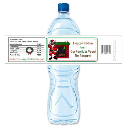[Y181] Santa / Fireplace weatherproof water bottle label