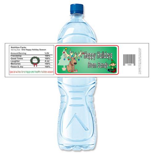 [Y182] Reindeer weatherproof water bottle label
