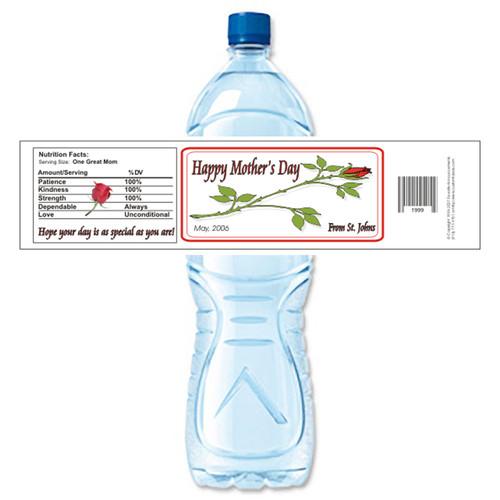 [Y218] Long Stem Rose weatherproof water bottle label