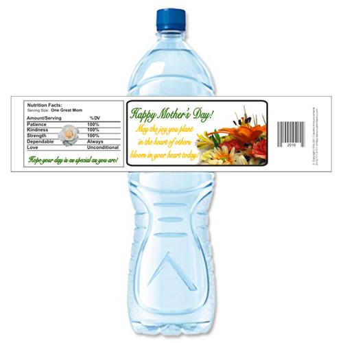 [Y487] Mothers Day Bouquet weatherproof water bottle label