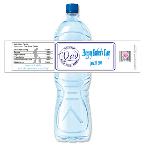 [Y489] Fathers Day 1 weatherproof water bottle label