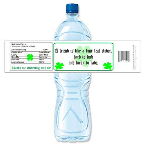 [Y494] Four Leaf Clover weatherproof water bottle label
