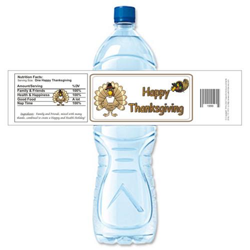 [Y496] Thanksgiving - 1 weatherproof water bottle label