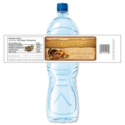 [Y584] Abundance Thanksgiving weatherproof water bottle label