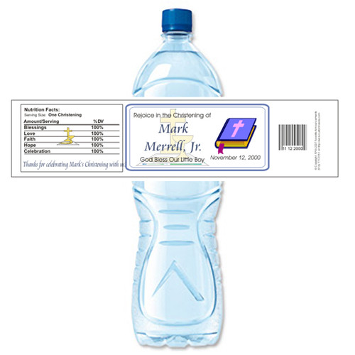 [Y233] Christening weatherproof water bottle label