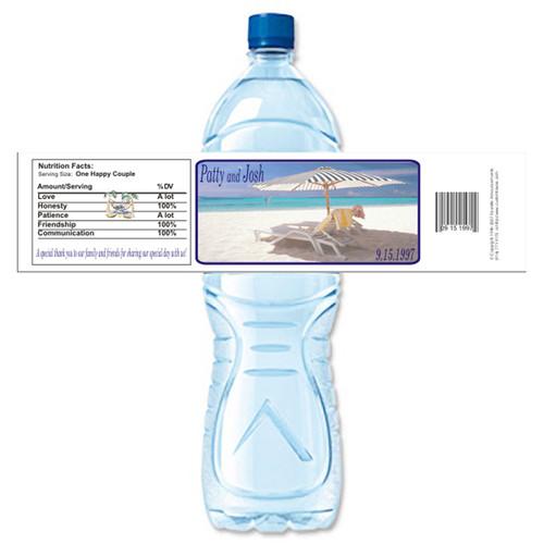 [Y329] Beach Umbrella weatherproof water bottle label