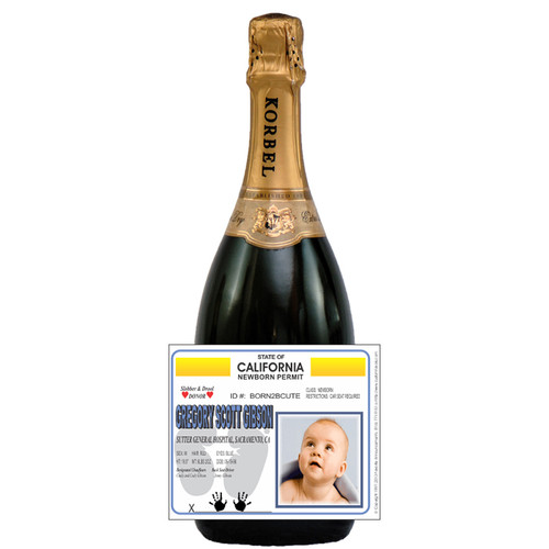 [L259] Baby ID Label - champagne bottle