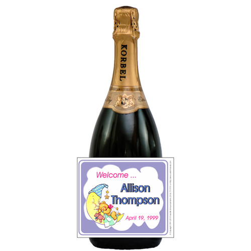 [L314] Bear on Moon Label - champagne bottle