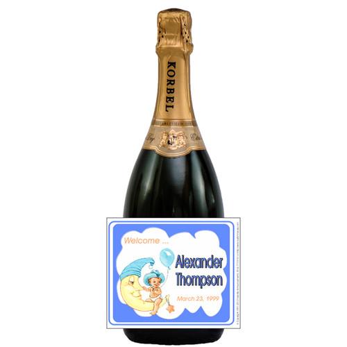 [L315] Boy on Moon Label - champagne bottle