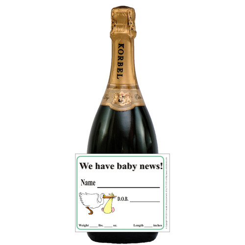 [L320] Baby News Label - champagne bottle