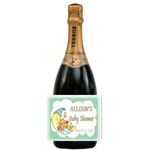 [L289] Bear on Moon Label - champagne bottle