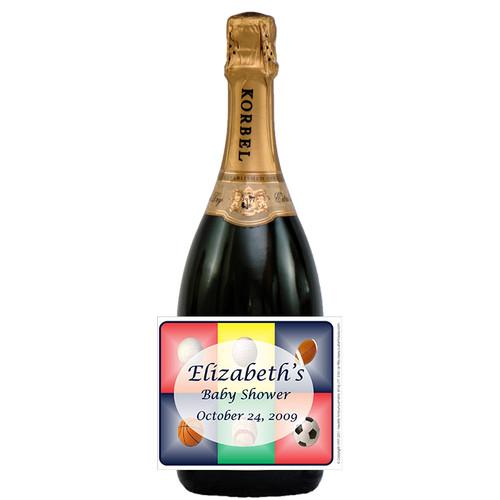 [L310] Sports Shower Label - champagne bottle
