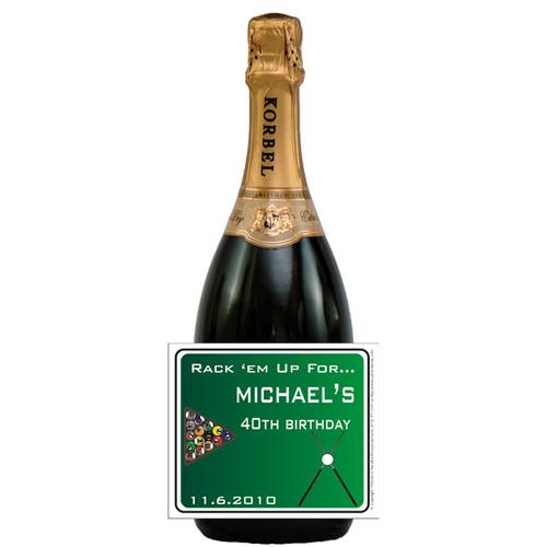 [L277] Billiard Birthday Label - champagne bottle