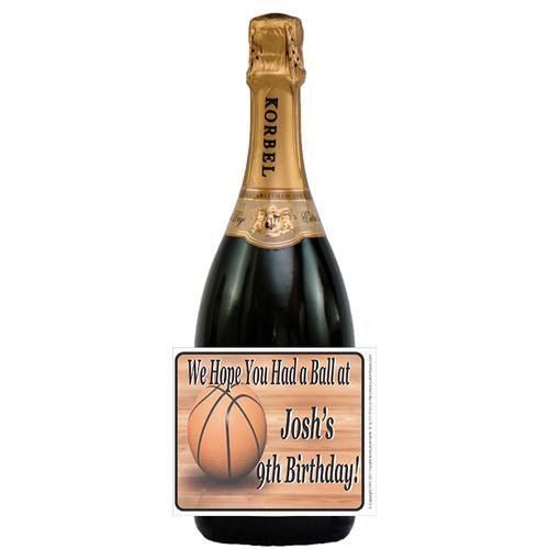 [L62] Basketball Celebration Label - champagne bottle