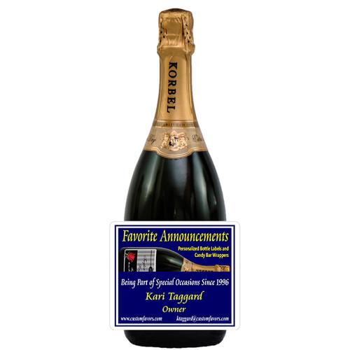 [L341] Sample Business Card Label - champagne bottle