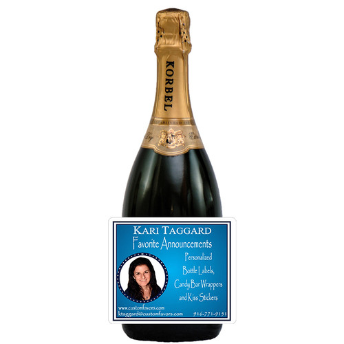 [L342] Photo Business Card Label - champagne bottle
