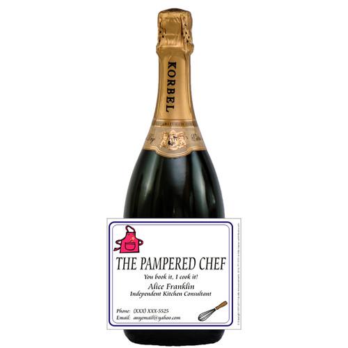 [L345] Event Business Card Label - champagne bottle