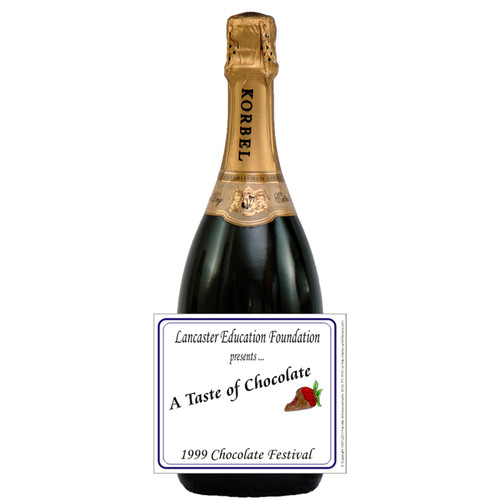 [L346] Event Business Card Label - champagne bottle