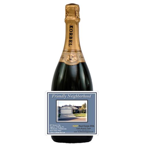 [L347] Real Estate Photo Label - champagne bottle