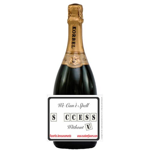 [L348] Business Success Label - champagne bottle