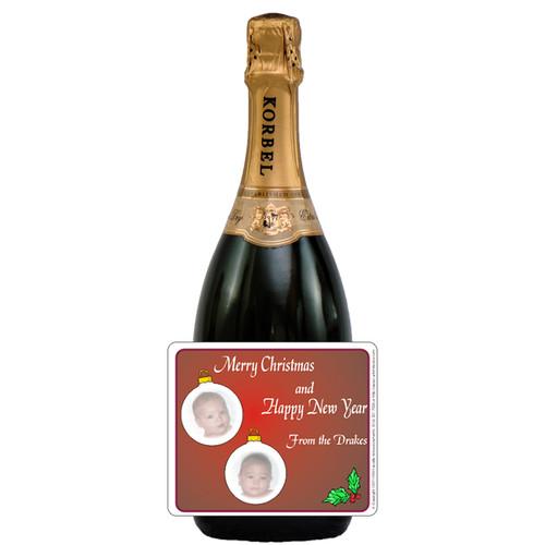 [L101] Ornament Photo Label - champagne bottle