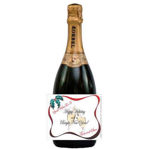 [L107] Holiday Banner Label - champagne bottle