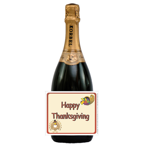 [L162] Thanksgiving - 1 Label - champagne bottle