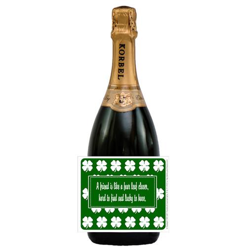 [L164] Four Leaf Clover Label Label - champagne bottle