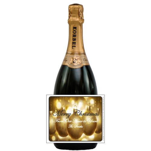 [L568] Gold Ornament Bkgd Label - champagne bottle