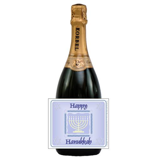 [L605] Happy Hanukkah Label - champagne bottle