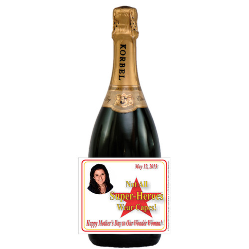 [L615] Super-Hero Photo Mother's Day Label - champagne bottle