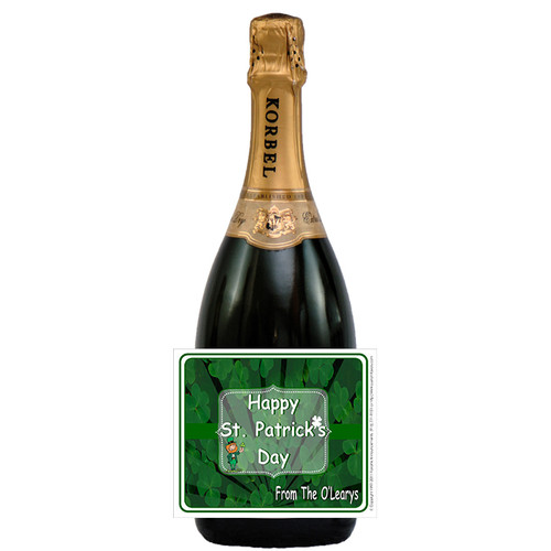 [L660] Shamrock Label - champagne bottle