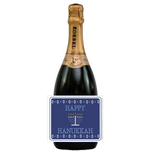 [L703] Star of David Border Label - champagne bottle
