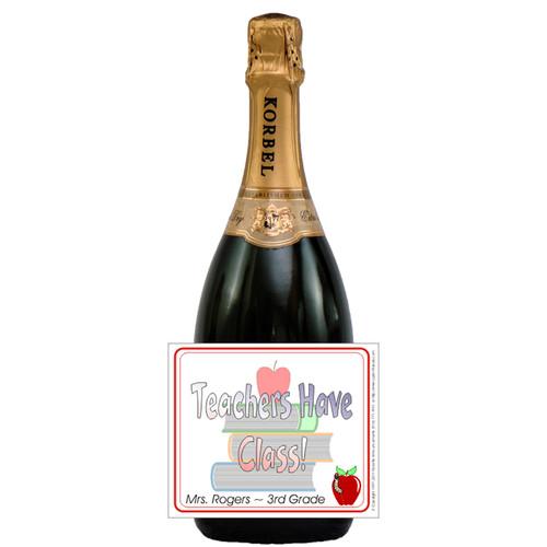 [L187] Teachers Have Class Label - champagne bottle