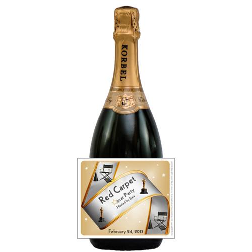 [L602] Oscar Party Label - champagne bottle