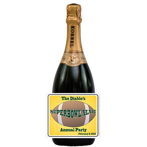 [L613] Super Bowl Party Label - champagne bottle