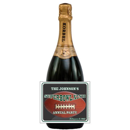 [L633] Super Bowl Football Label - champagne bottle